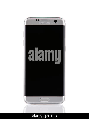 Belgrade, Serbia - December 19, 2016: New silver Samsung Galaxy S7 Edge smartphone, isolated on white background. - Stock Photo