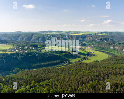 National Park Saxon Switzerland (Saechsische Schweiz) during spring. View from Mount Lilienstein towards Rathen - Stock Photo
