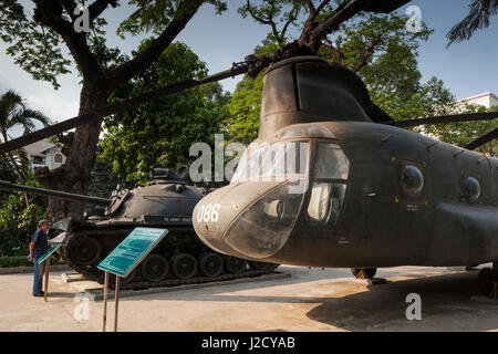 Vietnam, Ho Chi Minh City. War Remnants Museum, former US Army helicopters - Stock Photo