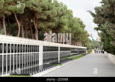Azerbaijan, Baku. Martyrs' Lane, a memorial and burial site for Azerbaijanis killed by Soviet soldiers in Black - Stock Photo