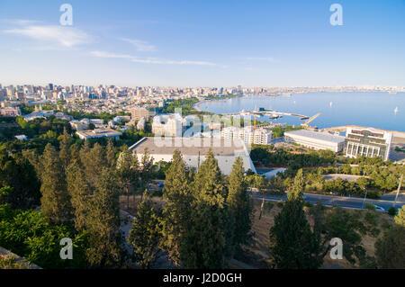 View over coast of Baku, Baku Bay, Azerbaijan - Stock Photo
