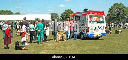 Dog show on a summer day people standing & queuing at ice cream van some with their dogs all waiting to purchase - Stock Photo