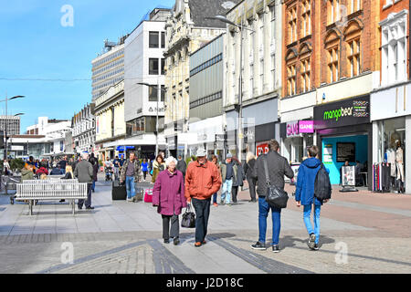 Shopping in Southend on Sea England UK high street retail shops & shoppers town centre pedestrianised shop front - Stock Photo
