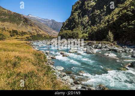 The Matukituki River running along the Rob Roy Glacier Trail outside of Wanaka, New Zealand. - Stock Photo
