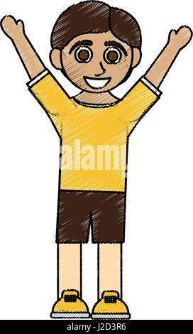 color pencil caricature boy with open arms up - Stock Photo