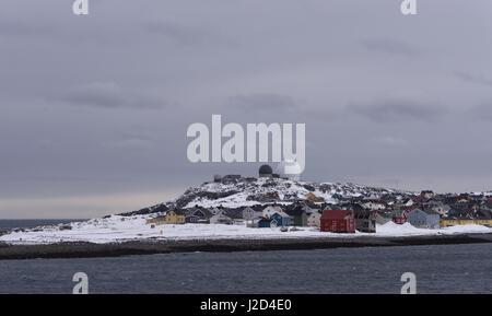 Domes of the Globus II radar system above the town of Vardo. Vardo, Finnmark, Norway. - Stock Photo