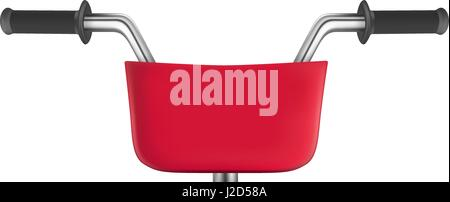 Red city bike with basket. Front view - Stock Photo
