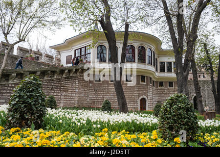 Istanbul, Turkey - April 12, 2017: People are visiting Ahmet Hamdi Tanpinar Literature Museum Library in Gulhane - Stock Photo