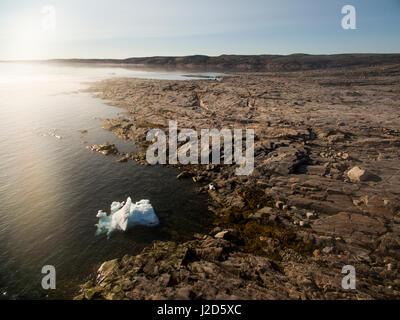 Canada, Nunavut Territory, Ukkusiksalik National Park, Aerial view of melting sea ice floating in Hudson Bay on - Stock Photo