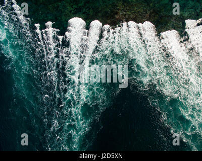 Canada, Nunavut Territory, Ukkusiksalik National Park, Aerial view of rapids on tide rip in Wager Bay on summer - Stock Photo