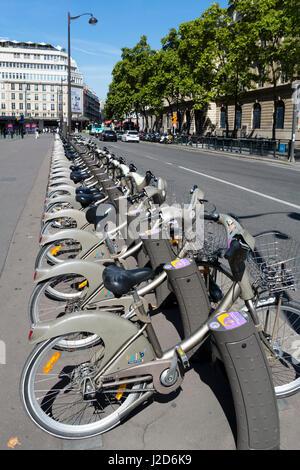 Velib bicycle station, Paris, France - Stock Photo