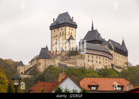 Czech Republic, Bohemia, Karlstejn. Karlstejn Castle was established by the Czech king and Roman emperor Charles - Stock Photo