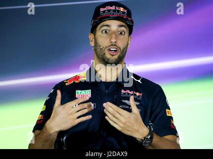 Sochi, Russia. 27th Apr, 2017. Australian driver Daniel Ricciardo of the Red Bull Racing F1 Team at a news conference - Stock Photo