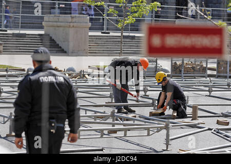 Kiev, Ukraine. 27th Apr, 2017. Preparation of the official fan zone of the the Eurovision Song Contest - the ''Eurovision - Stock Photo