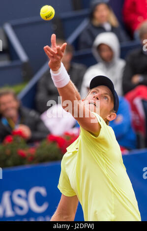 Barcelona, Spain. 27th April, 2017. South African tennis player Kevin Anderson during a third round game against - Stock Photo