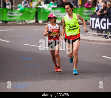 Misato Michishita, running for Japan. in the 2017 London Marathon World Para Athletic World Cup. She finished first - Stock Photo