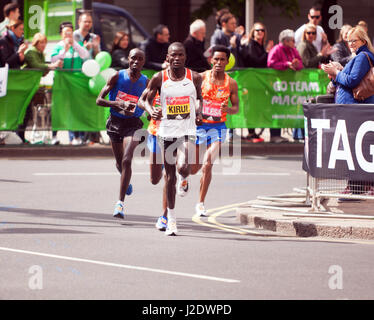 Abel Kiru  leading the men's elite race at the 2017 London Marathon. He went on to finish 4th, in a time of 02:07:45. - Stock Photo