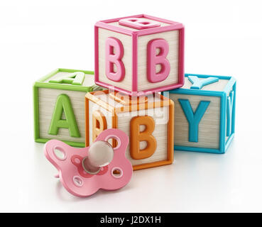 Colorful toy cubes forming baby word. 3D illustration. - Stock Photo