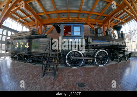 Fisheye view of the restored CPR Engine 374 at the Roundhouse in Yaletown, Vancouver, British Columbia, Canada. - Stock Photo