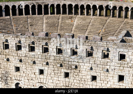 Representative model of historical old ancient city of Aspendos amphitheater, Antalya in Miniaturk, Istanbul.Miniaturk - Stock Photo