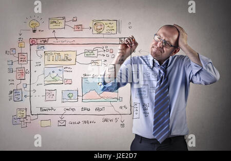 Businessman thing and planning by drawing and writing - Stock Photo