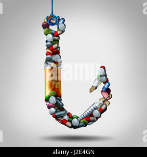 Hooked on medicine and addiction to meds as opiods risk as a hook made of pills and addictive medication as a medical - Stock Photo