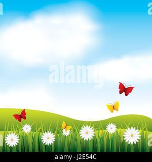 garden flowers and butterflies - Stock Photo