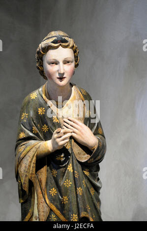 France, Rhone-Alpes, Lyon. Tuscany-Angel of the Annunciation (walnut, mid-14th c.), Musee des Beaux Arts - Stock Photo
