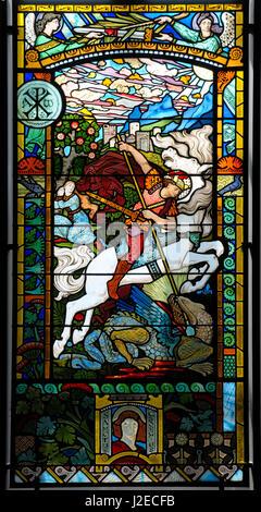 France, Rhone-Alpes, Lyon. Saint Georges combattant le dragon (1889)-Lucien Begule-Eugene Grasset, Musee des Beaux - Stock Photo