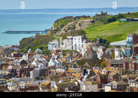 View over Hastings Old Town from East Hill to the Castle on Castle Hill, Sussex, England, UK, GB - Stock Photo