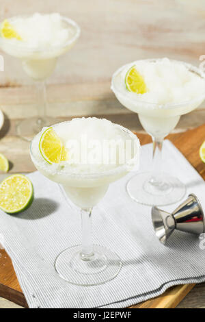 Cold Refreshing Lime Frozen Margarita Ready to Drink - Stock Photo