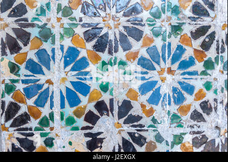 Europe, Portugal, Sintra, Sintra National Palace, The Magpie Room, geometric ceramic tile - Stock Photo