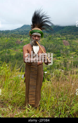 Colorfully dressed local tribal chief in the Highlands of Papua New Guinea, Melanesia - Stock Photo