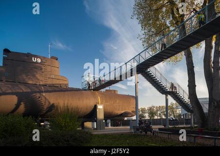 Germany, Rhineland-Pfalz, Museum Speyer, German U9 submarine - Stock Photo
