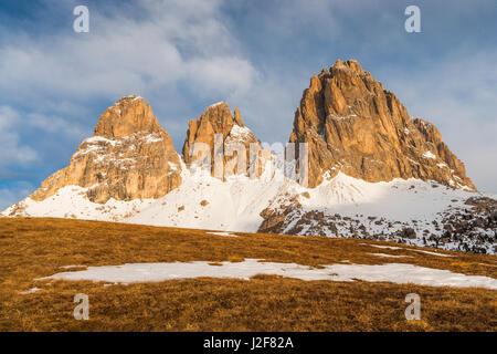 The Sassolungo massif in morning light - Stock Photo