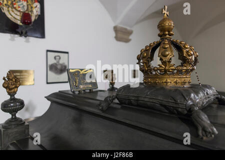 Germany, Bavaria, Munich, Michaelskirche church, crypt, grave of Bavarian King Ludwig II, builder of Schloss Neuschwanstein - Stock Photo