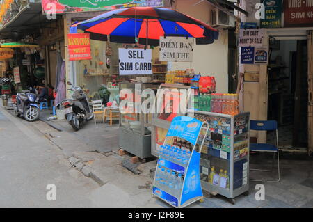 Street Kiosk in Old Quarter Hanoi Vietnam. - Stock Photo