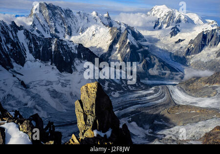 View from the Mount Courtes over de Mont Blanc Massif with the Grandes Jorasses and the white Valley (Vallee Blanche) - Stock Photo