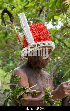 Republic of Vanuatu, Torres Islands, Loh Island. Village elder dressed in traditional headdress for 'The Chiefs - Stock Photo