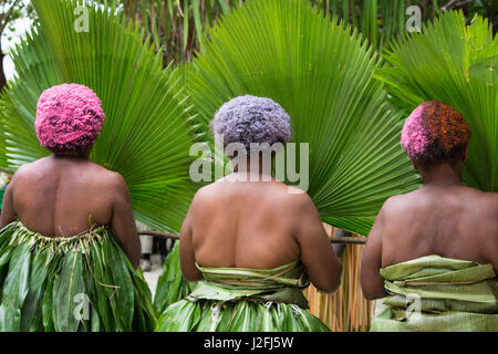 Republic of Vanuatu, Torres Islands, Loh Island. Ceremonial dance with costumed villagers, women with colorful hair - Stock Photo