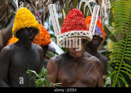 Republic of Vanuatu, Torres Islands, Loh Island. Folkloric demonstration of ceremonial dance. Village men in native - Stock Photo