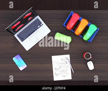 3D printer, laptop and product color samples. CMF(Color, Material and Finish) design process concept. 3D rendering - Stock Photo