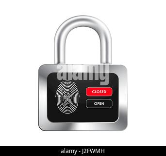realistic padlock with a black display, fingerprint and opening and closing control buttons. Isolated on white background. - Stock Photo