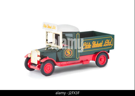 Vintage model pick-up truck manufactured by Corgi in Eddie Stobart livery on white - Stock Photo