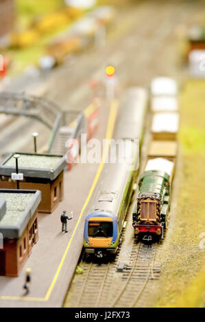 miniature model train station with shallow d.o.f - Stock Photo