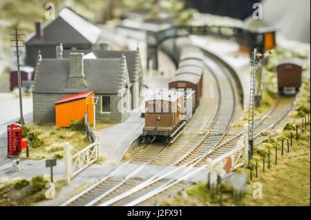 British rural village model railway station - shallow d.o.f. - Stock Photo