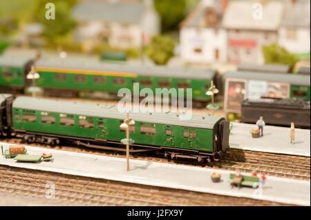 miniature railway train station platformwith shallow d.o.f - Stock Photo