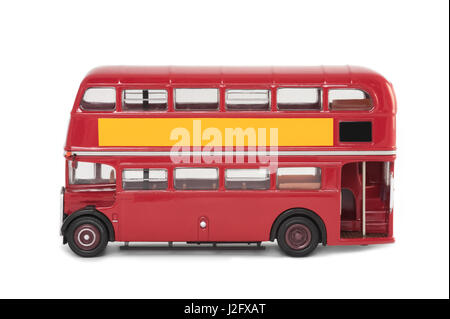 miniature scale model of a vintage red london bus on white - Stock Photo