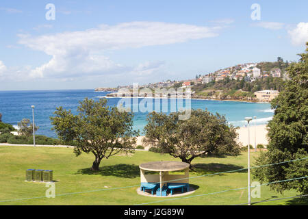 Coogee beach with Dunningham reserve in the foreground, Sydney, New South Wales, Australia - Stock Photo