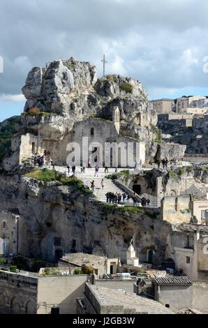 Ancient  rock-church of Madonna de Idris or Cave Church of Lucia de Malve also known as St Lucy Matera italy - Stock Photo